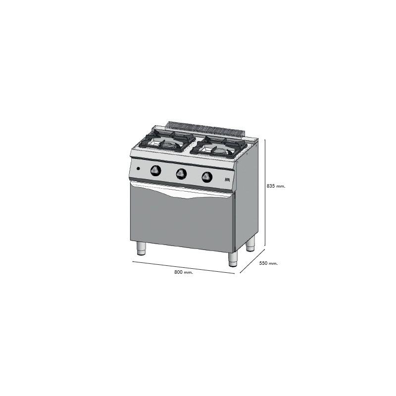 Cocina a gas 2 fuegos 550 horno c2f550h maquinaria para for Cocinas 5 fuegos gas