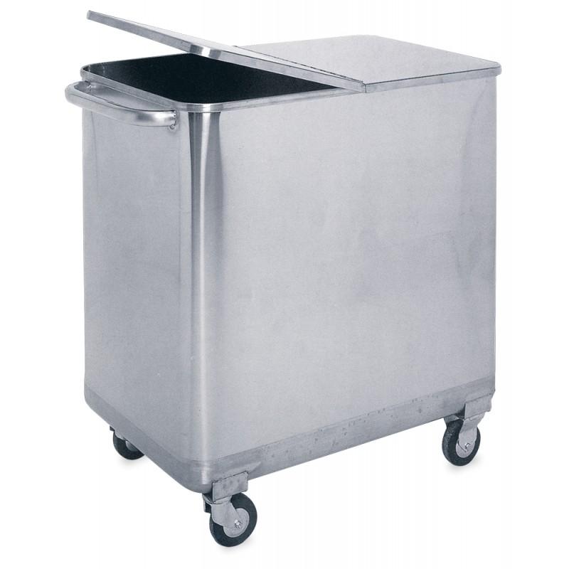 Contenedor de desperdicios acero inoxidable con tapa y ruedas - Especial panadería