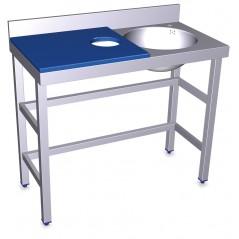 Mesa de preparación y lavado- Fibra rojo- Modelo 072802