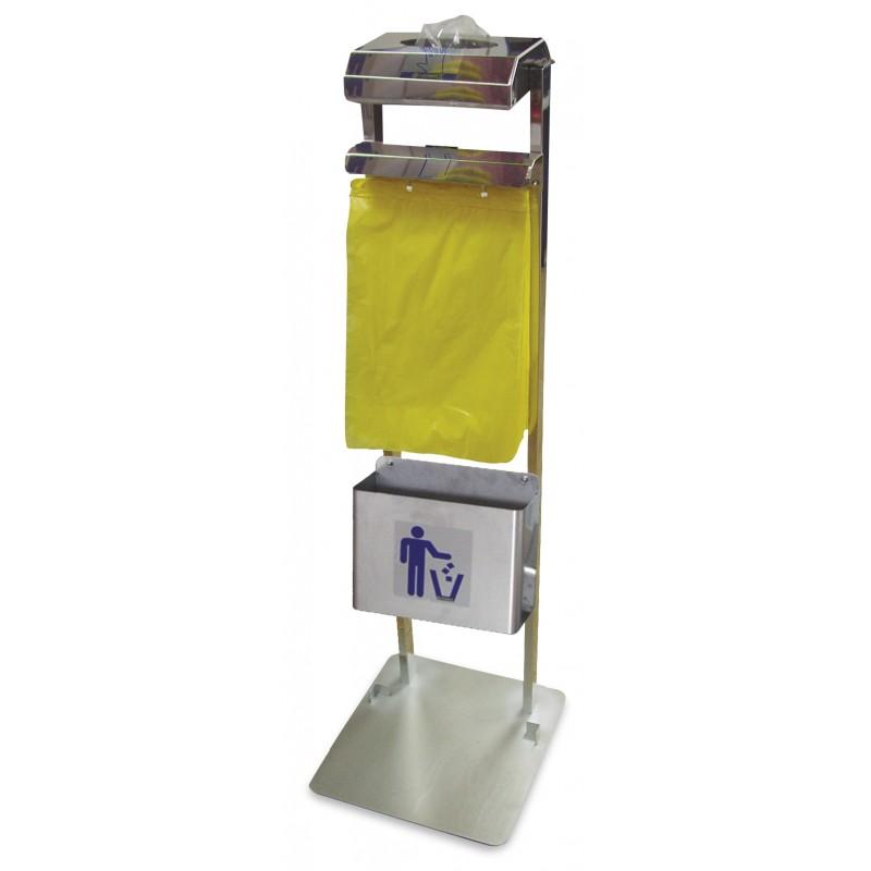 Conjunto dispensador de guantes y bolsas colgantes con papelera