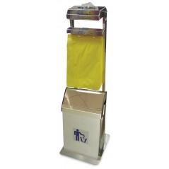 Conjunto dispensador de guantes y bolsas colgantes con papelera basculante