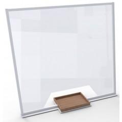 Mampara de proteccion con ventana y bandeja marron