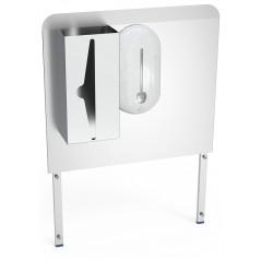 Peto trasero lavamanos con dispensadores de papel y jabon