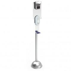 Columna con soporte termómetro y dispensador de gel hidroalcohólico.