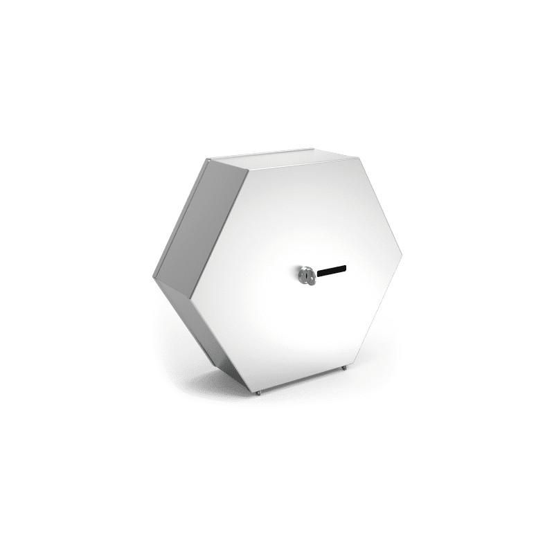 Dispensador de papel higienico en acero inoxidable hexagonal