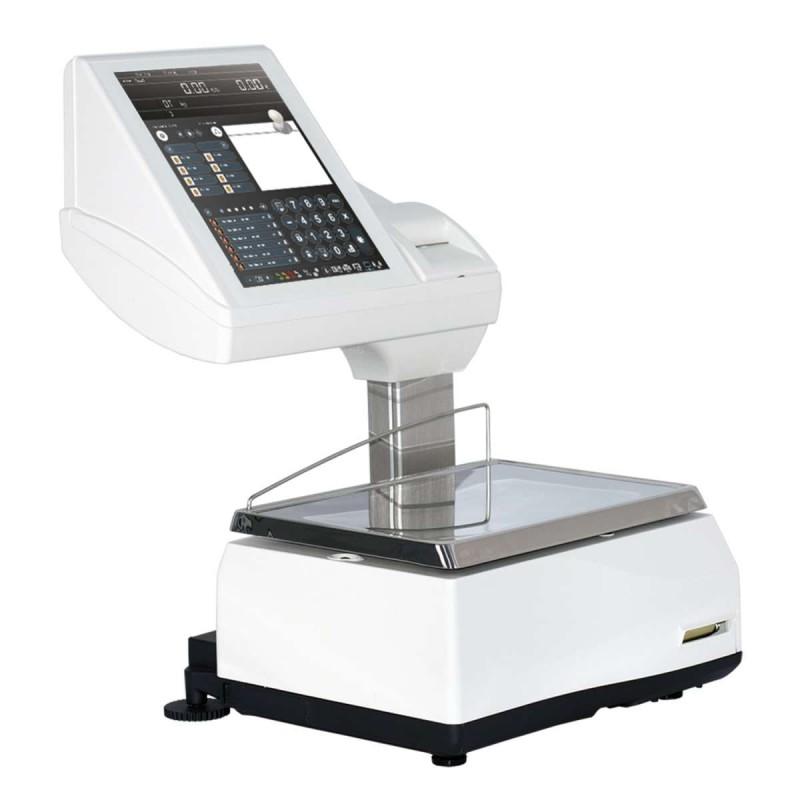 Balanza Modelo KSCALE 12 20 RLI Impresora y etiquetadora PC táctil sobremostrador con impresora y etiquetadora.